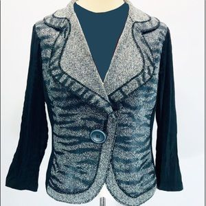 Alberto Makali Jackets & Coats - Albert McKali XL Zebra Tweed Long Sleeve Jacket